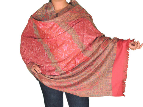 Beautiful Fancy Embroidered Kashmir Shawl - Coral Pink Wool Evening Blanket Wrap 80""