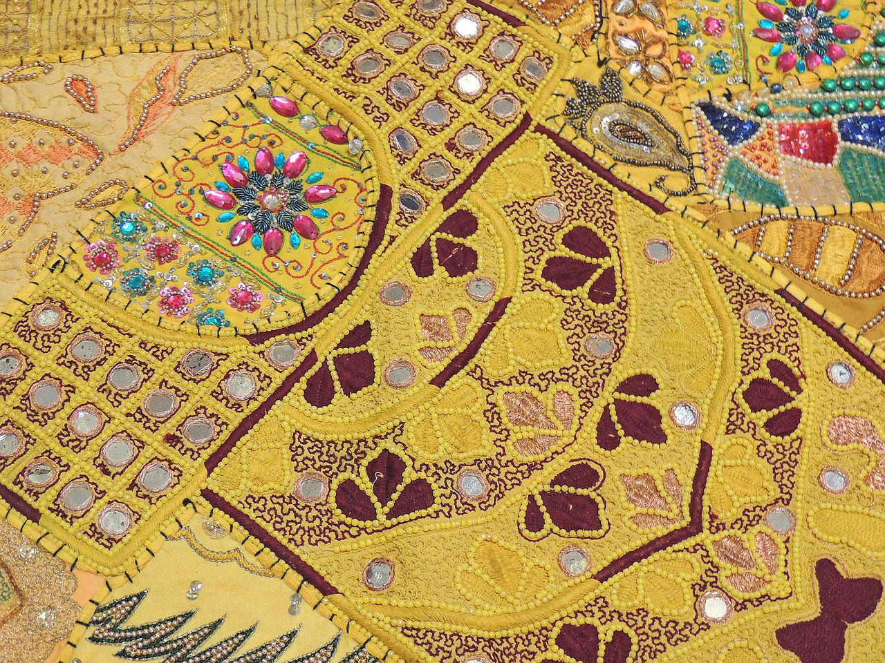 Yellow Wall Hanging Accent - Handmade Beaded Patchwork Textile ...