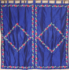 Embroidered Floral Luxury Blue Curtains - 2 Dupioni Indian Window Treatments Panels 82""
