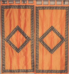 Orange Paisley Zari Embroidery Curtains - 2 Dupioni Shimmering Window Panels 82""