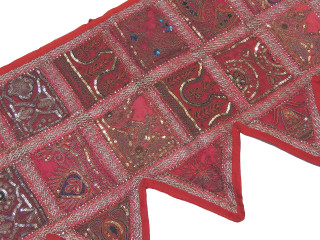 Red Pink Window Curtain Valance - Sari Beaded Patchwork Doorway Topper Toran 60""