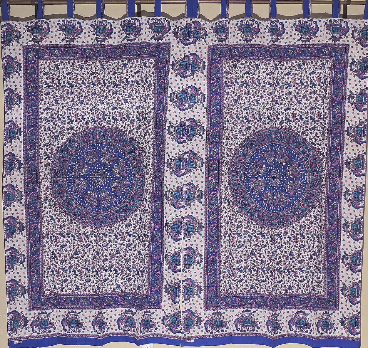 Blue Mandala Curtains With Elephants 2 Block Print Cotton Fabric Window Panels 78