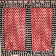"Maroon Paisley Cotton Curtain Panels - 2 Stylish Indian Window Treatments 80"""
