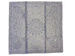 """Gray Coffee Table Overlay Topper - Decorative Handcrafted Beaded Tablecloth ~ 40"""""""
