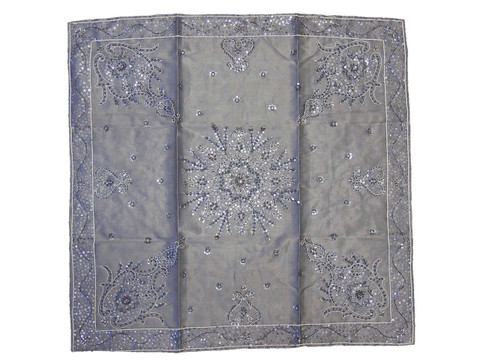 """Gray Beaded Decorative Square Tablecloth - Party Table Decor Overlay ~ 40"""""""