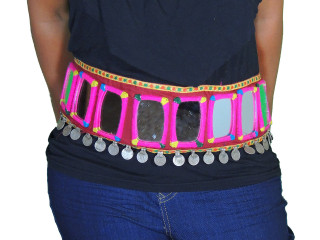 Ladies Banjara Fashion Belt - Large Mirror Coin Embroidered Accessory ~ Free Size