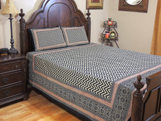 Indian Inspired Geometric Cotton Bedding Set – Printed Sheet Pillowcases ~ Queen
