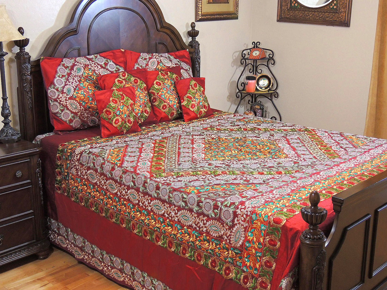 luxury red indian sari set gift duvet cover ethnic kitchen covers bedding king novahaat dp amazon com collection embroidered home