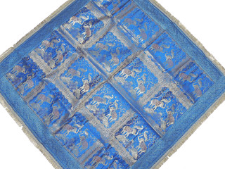 Elephant Peacock Blue Brocade Tablecloth - Zari Indian Table Overlay Topper 48""