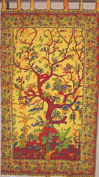 Yellow Tree of Life Curtain - Unique Cotton Print Window Treatments Panel 80""