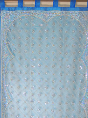 Blue Zardozi Sheer Curtain Panel - Hand Embroidered Beaded Window Treatments 92""
