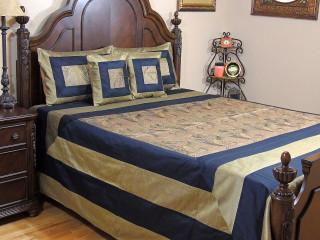 Black Gold Mor Pankh Bollywood Bedding - 5P Decorative Embroidered Set ~ Queen