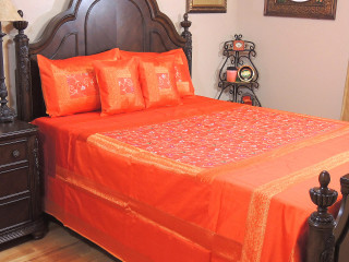 Orange Gulistaan Indian Bedding - 5P Decorative Floral Embroidered Ensemble ~ Queen