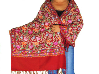 """Maroon Floral Embroidered Shawl Wrap - Wool Women's Designer Scarf 80"""""""