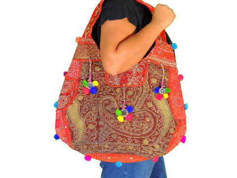Hobo Bag in Red - Sari Beaded Embroidered Patchwork Exclusive Handbag