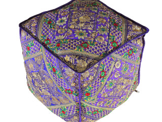 Purple Gold Embroidered Pouf Cover - Decorative Trendy Living Room Large Ottoman 18""