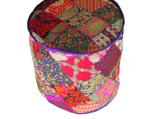 Bohemian Hand Embroidery Round Pouf Cover - Unique Indian Accent Ottoman 18""