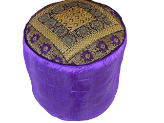"""Purple Round Traditional Indian Pouf Cover - Gold Zari Embroidered Ottoman 18"""""""