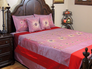 Light Coral Surya Luxury Indian Bedding - 5P Embroidery Ensemble ~ Queen