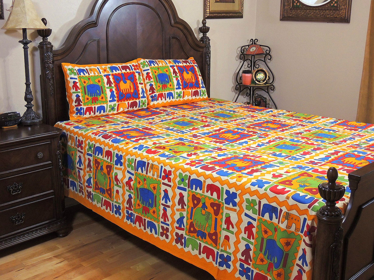 Multicolor Tribal Print Bedspread Pillowcases U2013 Traditional Indian Cotton  Bedding ~ Queen.