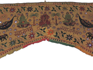 "Khaki Embroidered Ganesha Lakshmi Valance Toran - Vintage Doorway Mirror Topper Gate 83"" x 59"""