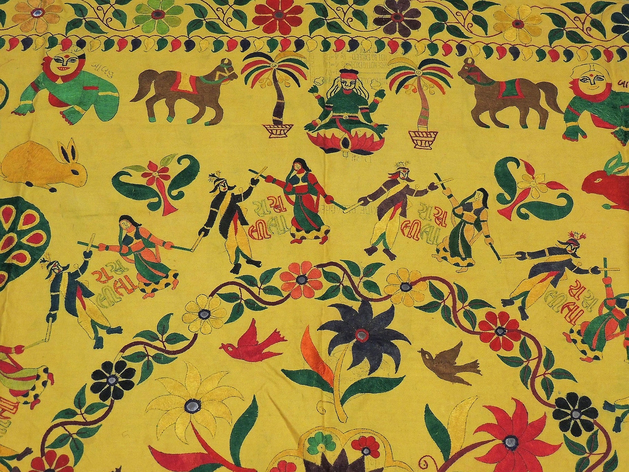 Yellow Kutch Embroidery Wall Hanging Tapestry - Vintage Ganesha ...