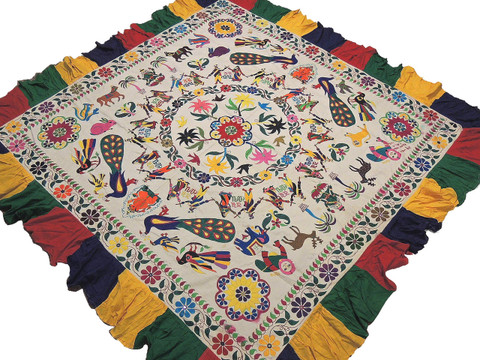 """Bohemian Ganesha Peacock Embroidered Tapestry - Vintage Kutch Huge Wall Hanging 85"""" x 81"""""""