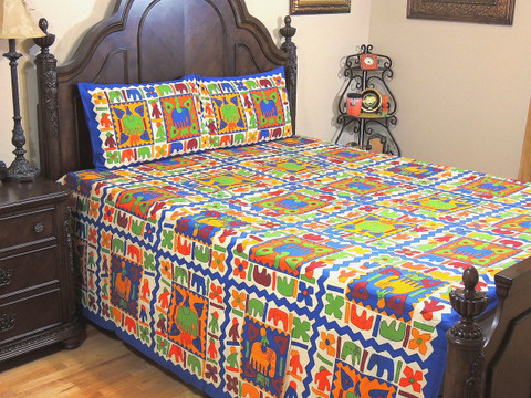 Multicolor Tribal Print Cotton Bedspread – Ethnic Bed Sheet Pillowcases Set ~ Queen