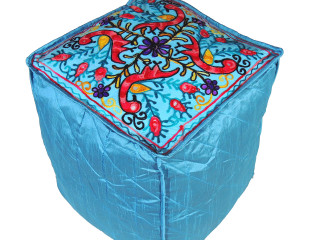 Blue Peacock Floral Embroidered Pouf Cover - Handmade Stool Ottoman Floor Seating 16""