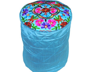 Blue Floral Embroidery Circular Pouf Cover - Traditional Indian Floor Seating Ottoman 16""