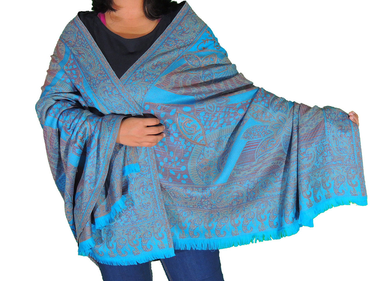 Blue Wool Embroidered Formal Shawl - Floral Warm Special Occasion ...