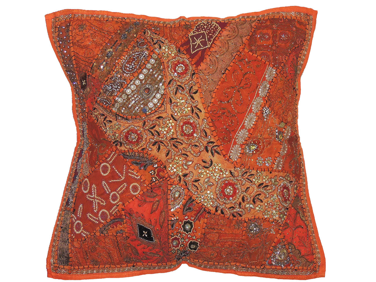 Orange Square Large Floor Pillow Cover - Handmade Beaded Pearl Euro ...