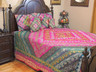Magenta Indian Beaded Bedding Set - Sari Duvet with Pillows and Cushion Covers ~ King