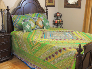 Green Blue Indian Bedding- Sari Beaded Duvet with Pillows Cushion Covers ~ King
