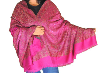 Byzantine Embroidered Evening Dress Shawl - Kashmir Paisley Wool Scarf Afghan 80""