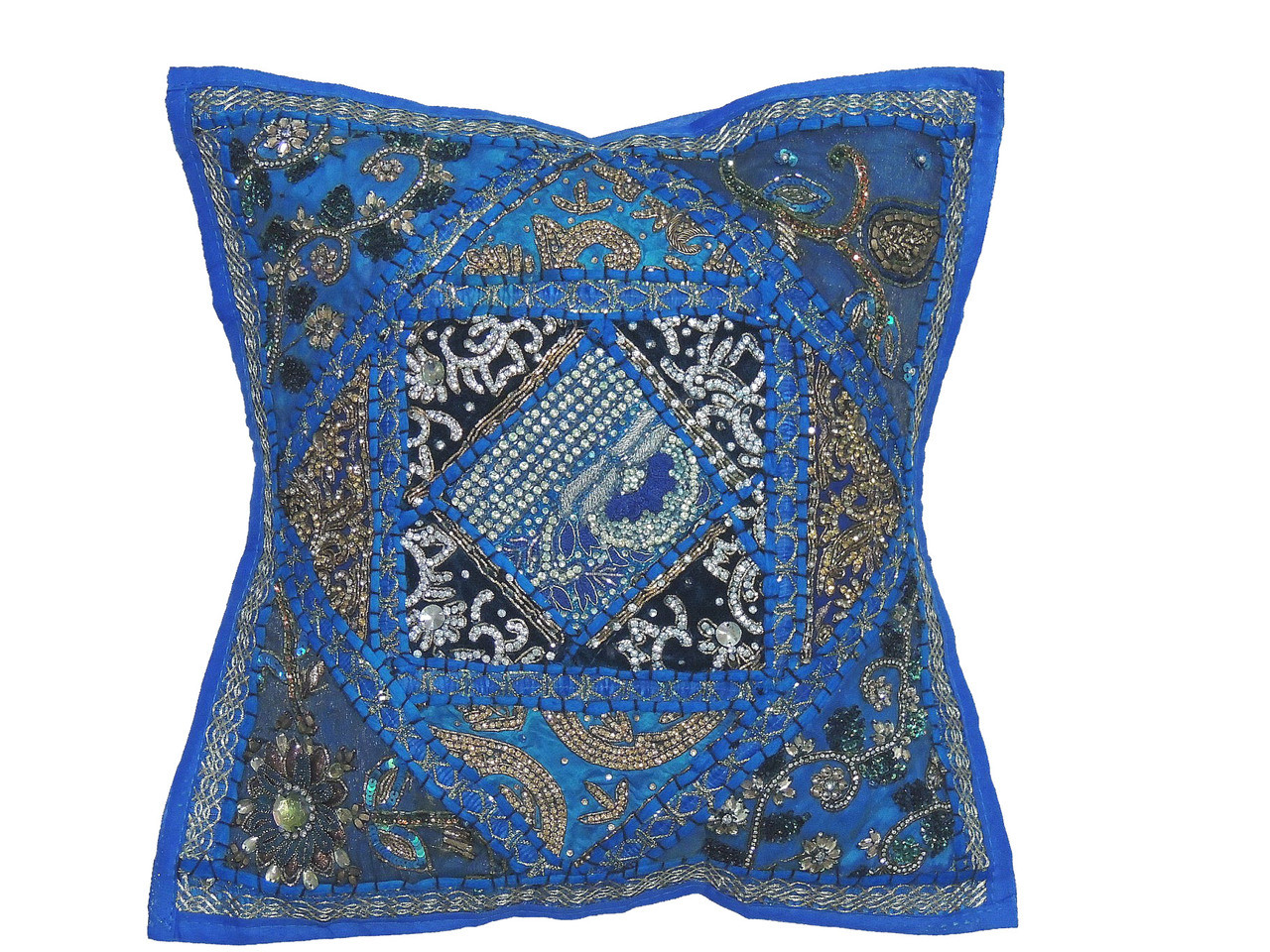 Blue Beaded Throw Pillow : Blue Kundan Decorative Throw Pillow - Fancy Beaded Embellished Cushion Cover 16