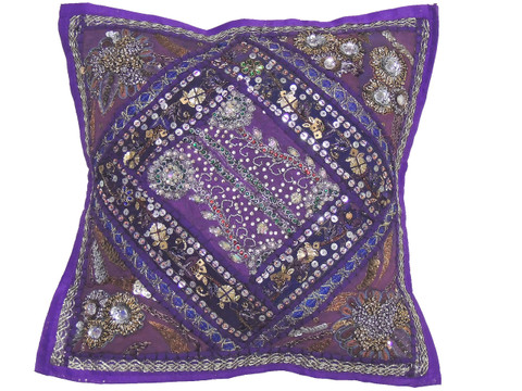 """Purple Sari Patchwork Pillow Cover - Decorative Beaded Indian Throw Cushion Cover 16"""""""