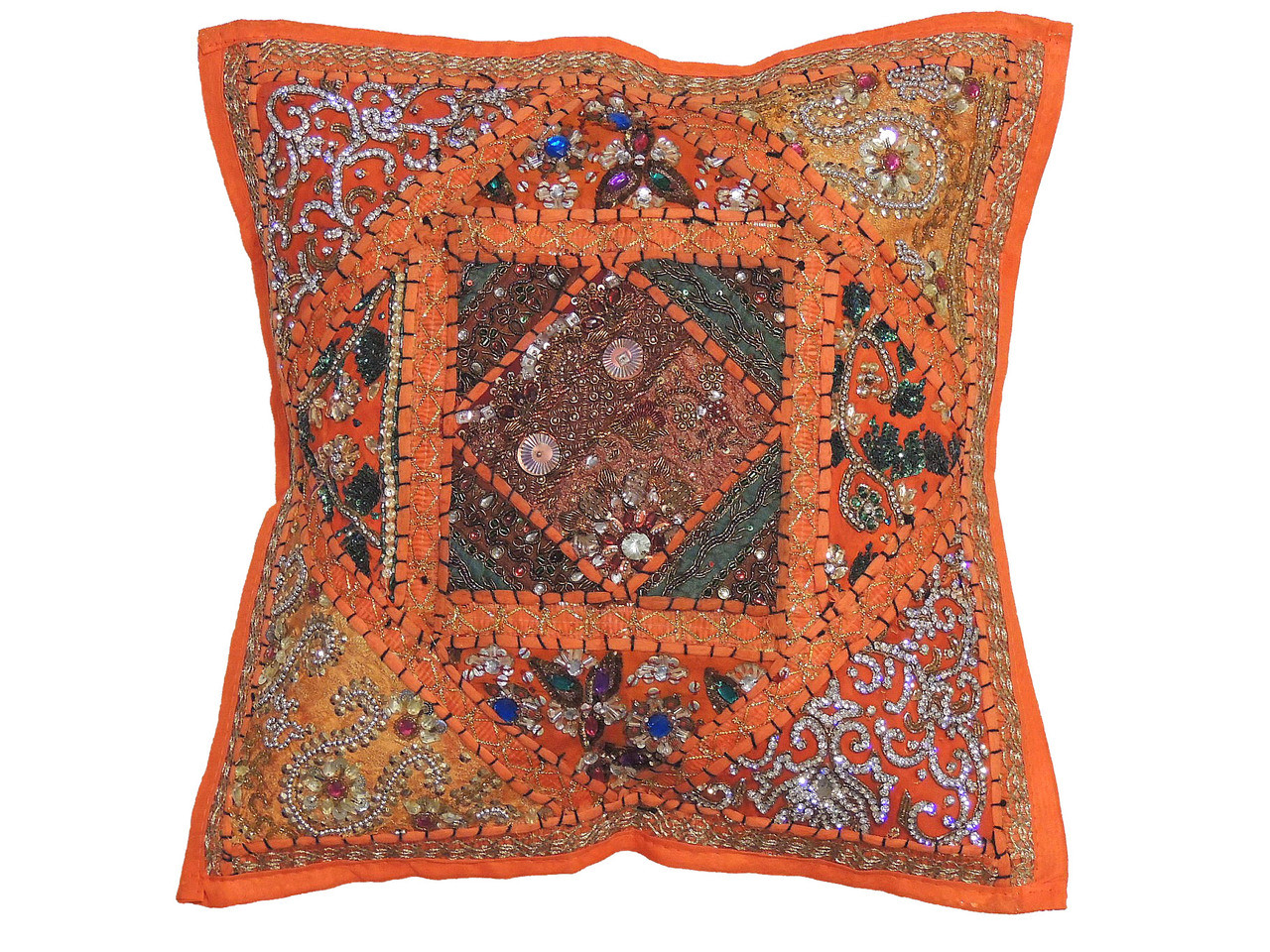Orange Decorative Patchwork Pillow Cover Beaded Indian