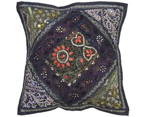 Black Unique Handmade Throw Pillow Cover - Beaded Sari Patchwork Cushion 16""