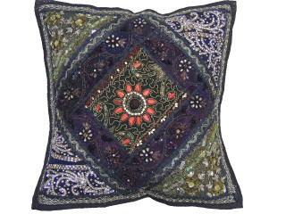 Black Kundan Decorative Throw Pillow - Fancy Beaded Embellished Cushion Cover 16""