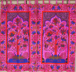 """Magenta Peacock Tree of Life Curtains from India - 2 Cotton Print Window Panels 82"""""""