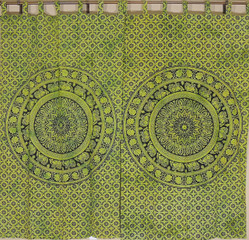Green Mandala Elephant Curtain Panels - 2 Cotton Print Indian Window Treatments 78""