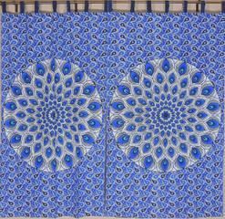"Blue Peacock Plumage Curtain Panels - 2 Cotton Print Window Treatments 82"""