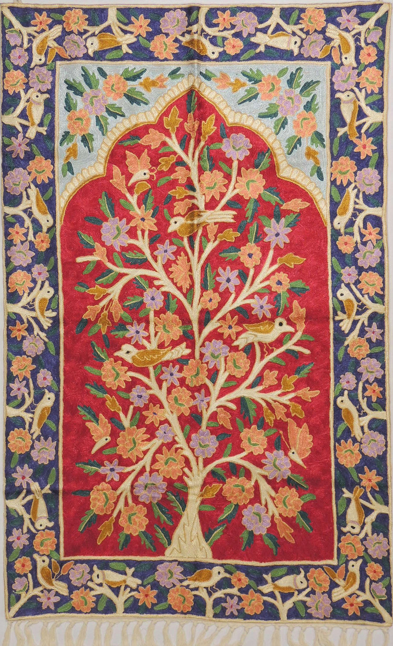 Red Tree Of Life Rug Crewel Chain Stitch Kashmir