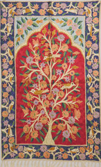 "Red Tree of Life Rug - Crewel Chain Stitch Kashmir Embroidery Wall Tapestry 48""x30"""
