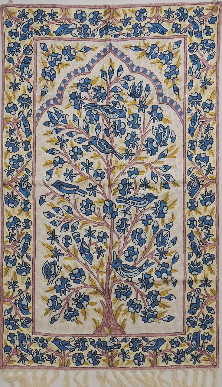White Tree Of Life Rug Crewel Chain Stitch Kashmir