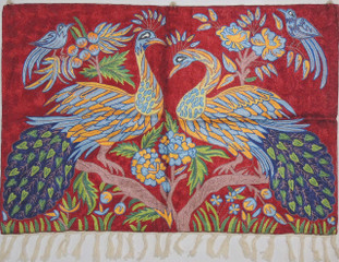 "Maroon Peacock Embroidered Wall Rug - Crewel Chain Stitch Tapestry 36"" x 24"""