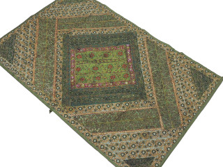 Green Gold Parsi Embroidery Tapestry - Handmade Ethnic Indian Wall Hanging 60""