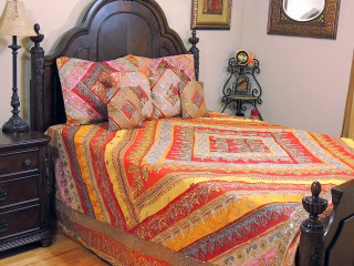 Bohemian Indian Inspired Bollywood Bedding - Beaded Duvet with Pillows Cushion Covers ~ King