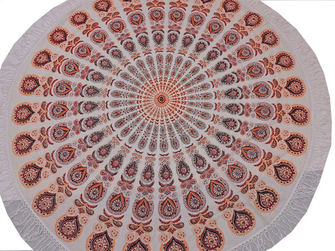 Orange Floral Mandala Round Tablecloth - Cotton Print Fringed Table Overlay 70""